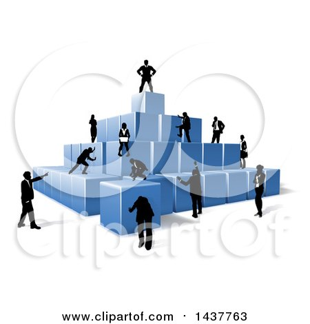 Clipart of a Team of Silhouetted Business Men and Women Assembling a Pyramid of 3d Blue Cubes - Royalty Free Vector Illustration by AtStockIllustration