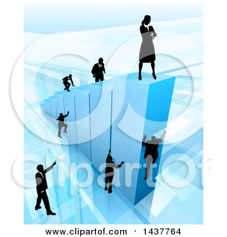 Clipart of a 3d Blue Bar Graph with Silhouetted Business Men and Women Competing to Reach the Top - Royalty Free Vector Illustration by AtStockIllustration