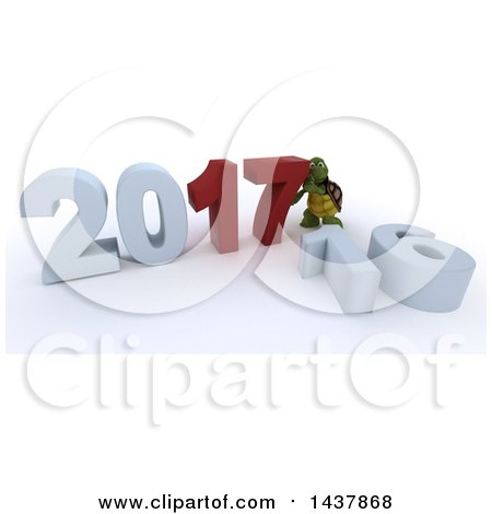 Clipart of a 3d Tortoise Pushing Together New Year 2017, with 16 on the Ground, over White - Royalty Free Illustration by KJ Pargeter