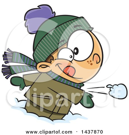 Clipart of a Cartoon Caucasian Boy Throwing a Snowball - Royalty Free Vector Illustration by toonaday