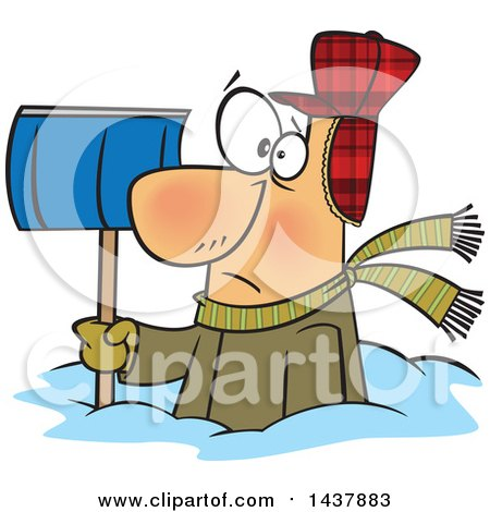 Clipart of a Cartoon White Man Buried in Snow, Holding a Shovel - Royalty Free Vector Illustration by toonaday