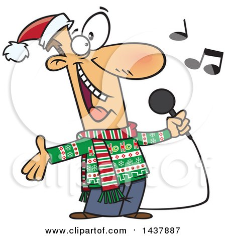 Clipart Of A Cartoon White Man Singing Christmas Karaoke Songs Royalty Free Vector Illustration