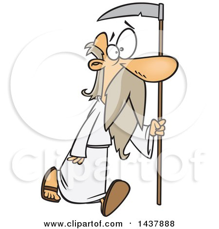 Clipart of a Cartoon Father Time Walking with a Scythe - Royalty Free Vector Illustration by toonaday