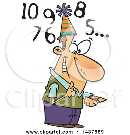 Clipart Of A Cartoon White Man Counting Down To New Year Royalty Free Vector Illustration
