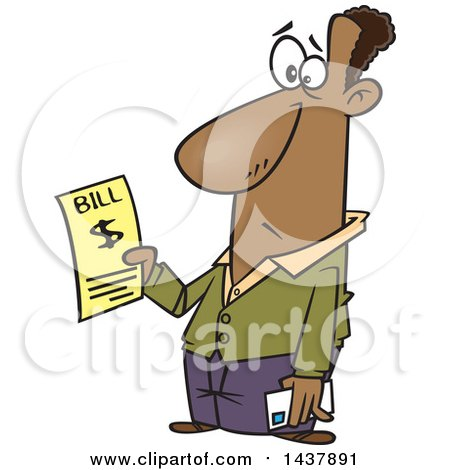 Clipart of a Cartoon Black Man Holding a Bill - Royalty Free Vector Illustration by toonaday