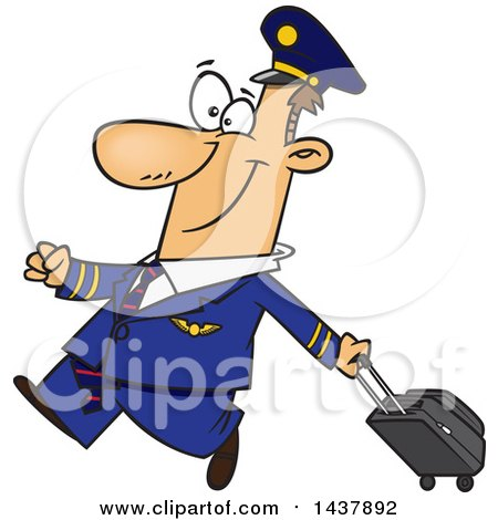 Clipart of a Cartoon White Male Airline Pilot Walking Proudly with a Rolling Suitcase - Royalty Free Vector Illustration by toonaday
