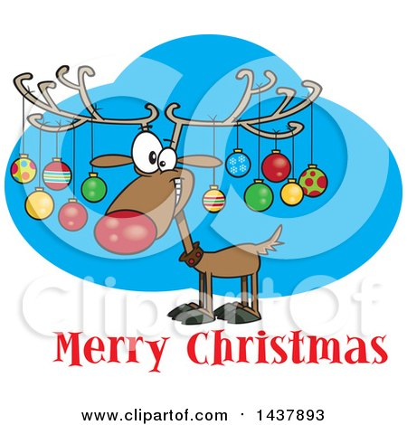 Clipart of a Cartoon Reindeer with Ornaments on His Antlers over Merry Christmas Text - Royalty Free Vector Illustration by toonaday
