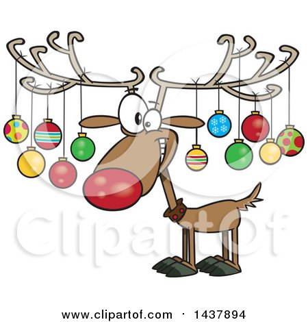 Clipart of a Cartoon Christmas Reindeer with Ornaments on His Antlers Royalty Free Vector