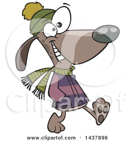 Clipart of a Cartoon Dog Taking a Winter Stroll - Royalty Free Vector Illustration by toonaday