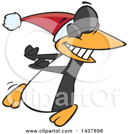 Clipart Of A Cartoon Christmas Penguin Doing A Happy Dance Royalty Free Vector Illustration