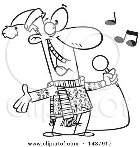 Clipart of a Cartoon Black and White Lineart Man Singing Christmas Karaoke Songs - Royalty Free Vector Illustration by toonaday