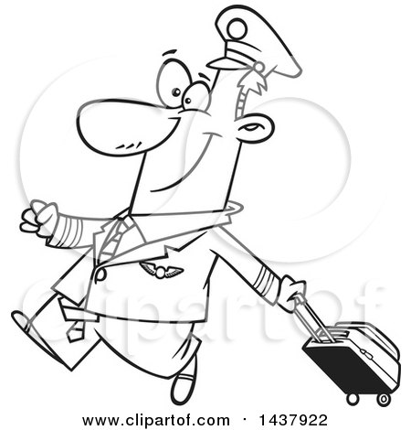 Clipart of a Cartoon Black and White Lineart Male Airline Pilot Walking Proudly with a Rolling Suitcase - Royalty Free Vector Illustration by toonaday
