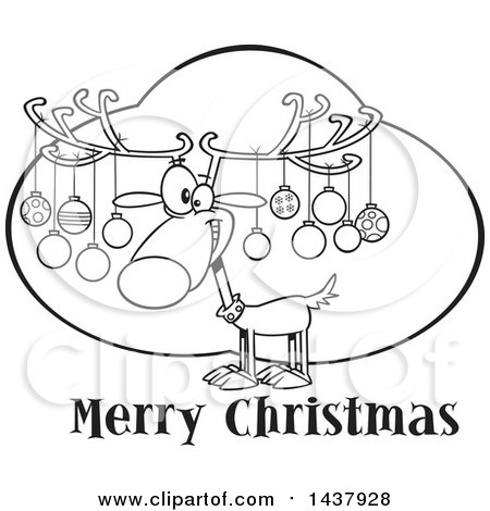 Clipart of a Cartoon Black and White Lineart Reindeer with Ornaments on His Antlers over Merry Christmas Text - Royalty Free Vector Illustration by toonaday