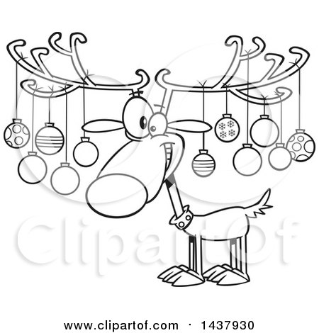 Christmas Images Cartoon Black And White.Clipart Of A Cartoon Black And White Lineart Christmas