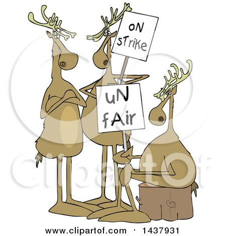 Clipart of a Cartoon Groupof Christmas Reindeer on Strike - Royalty Free Vector Illustration by djart