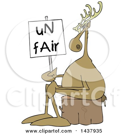 Clipart of a Cartoon Christmas Reindeer on Strike, Sitting on a Stump with an Unfair Sign - Royalty Free Vector Illustration by djart