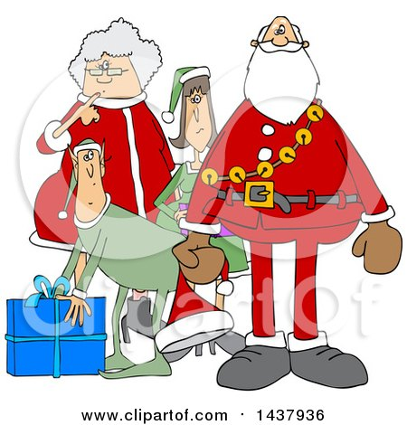 Clipart of a Cartoon Christmas Santa Claus with the Mrs and Elves - Royalty Free Vector Illustration by djart