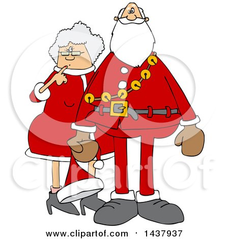 Clipart Of A Cartoon Christmas Santa Claus With The Mrs Royalty Free Vector Illustration