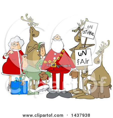 Clipart of a Cartoon Christmas Santa Claus with the Mrs, Elves and Protesting Reindeer - Royalty Free Vector Illustration by djart