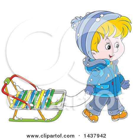 Clipart of a Cartoon Happy Caucasian Boy Pulling a Winter Sled - Royalty Free Vector Illustration by Alex Bannykh
