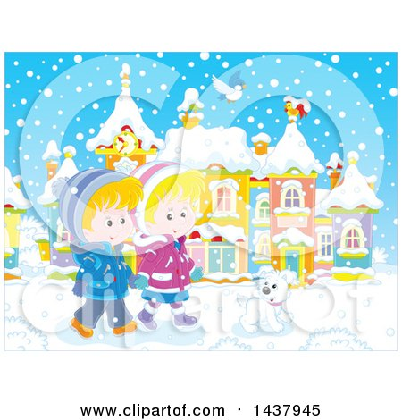 Clipart of a Happy White Boy and Girl Holding Hands and Taking a Winter Stroll with a Dog on a Winter Day - Royalty Free Vector Illustration by Alex Bannykh