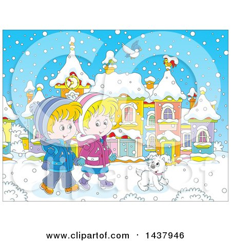 Clipart of a Cartoon Happy Caucasian Boy and Girl Holding Hands and Taking a Winter Stroll with a Dog on a Winter Day - Royalty Free Vector Illustration by Alex Bannykh
