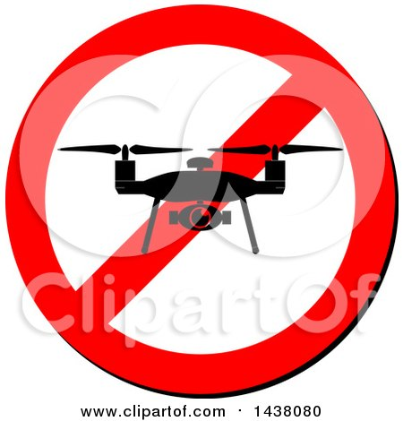 Clipart of a Silhouetted Drone on a Prohibited Sign - Royalty Free Vector Illustration by MilsiArt