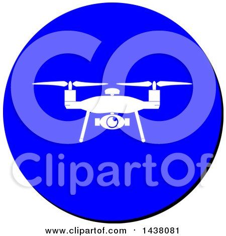 Clipart of a Silhouetted Drone in a Blue Cicle Sign Icon - Royalty Free Vector Illustration by MilsiArt