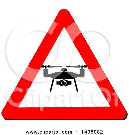 Clipart of a Silhouetted Drone in a Triangular Sign - Royalty Free Vector Illustration by MilsiArt