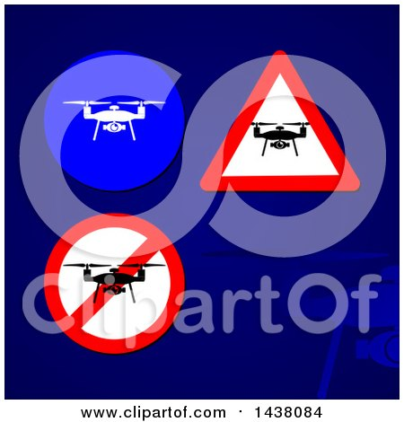 Clipart of Drone Signs and Icons over a Blue Background - Royalty Free Vector Illustration by MilsiArt