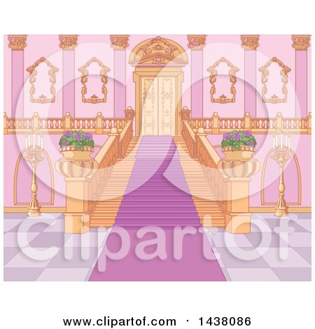 Clipart of a Principal Staircase Interior - Royalty Free Vector Illustration by Pushkin