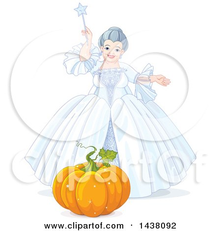 Clipart of a Fairy Godmother from Cinderella, Holding a Magic Wand over a Pumpkin - Royalty Free Vector Illustration by Pushkin