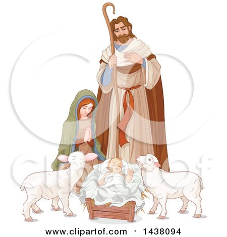 Clipart of a Loving Shepherd, Joseph Looking down at Mary and Baby Jesus, with Lambs - Royalty Free Vector Illustration by Pushkin