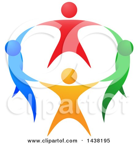 Circle of Colorful People Holding Hands Posters, Art Prints