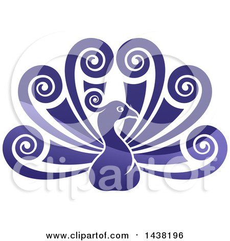 Clipart Of A Beautiful Shiny Gradient Purple Peacock Bird With Swirly Feather Plumes Royalty Free Vector Illustration