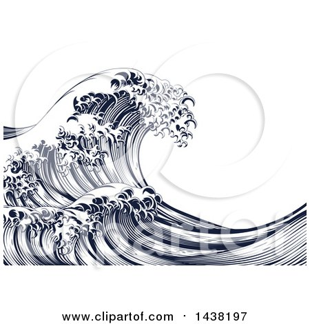 Clipart of a Vintage Engraved Japanese Styled Ocean Wave - Royalty Free Vector Illustration by AtStockIllustration
