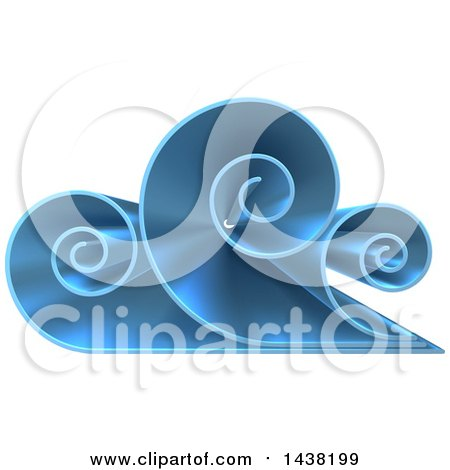 Clipart of a 3d Blue Swirly Cloud or Ocean Wave Logo - Royalty Free Vector Illustration by AtStockIllustration