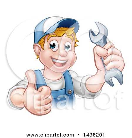 Cartoon Happy White Male Mechanic Holding a Spanner Wrench and Giving a Thumb up Posters, Art Prints