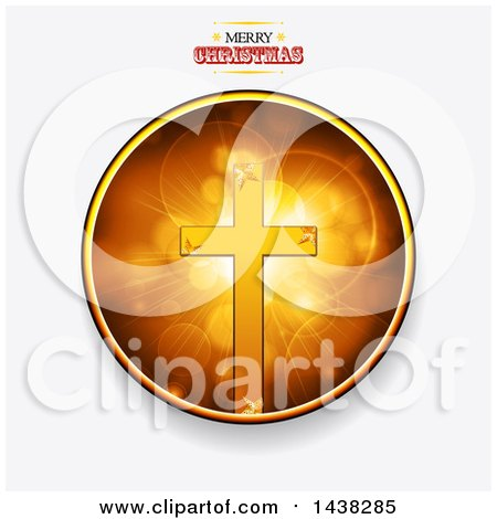 Clipart of a Merry Christmas Greeting over a Circle with a Cross and Flares - Royalty Free Vector Illustration by elaineitalia
