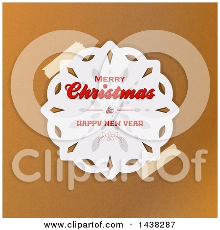 Clipart of a Taped Merry Christmas and Happy New Year Greeting Paper Snowflake over Brown Paper - Royalty Free Vector Illustration by elaineitalia