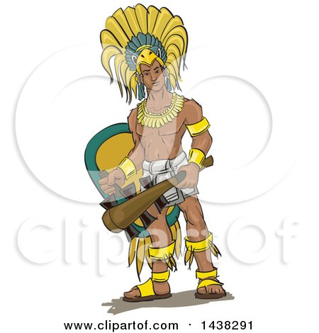 Clipart of a Muscular Aztec Eagle Warrior Knight - Royalty Free Vector Illustration by David Rey