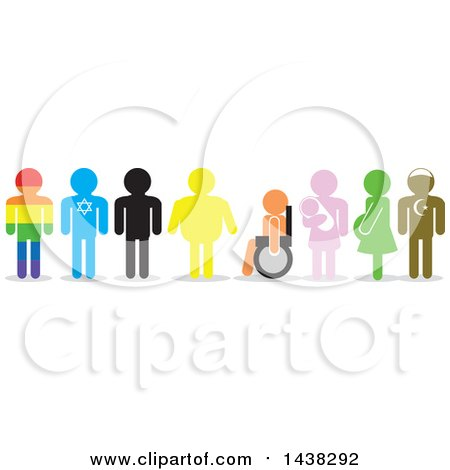 Clipart of Silhouettes of Rainbow, Israeli, Overweight, Handicap, Pregnant and Turkish Men and Women - Royalty Free Vector Illustration by David Rey