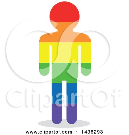 Clipart of a Silhouette of a Rainbow LGBT Man - Royalty Free Vector Illustration by David Rey
