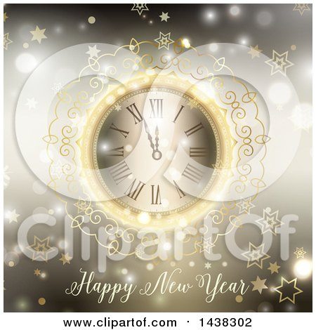 Clipart of a Happy New Year Greeting Under an Ornate Clock over Blur with Stars and Bokeh Flares - Royalty Free Vector Illustration by KJ Pargeter