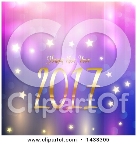 Clipart of a Happy New Year 2017 Greeting over Purple and Blue with Bokeh and Stars - Royalty Free Vector Illustration by KJ Pargeter
