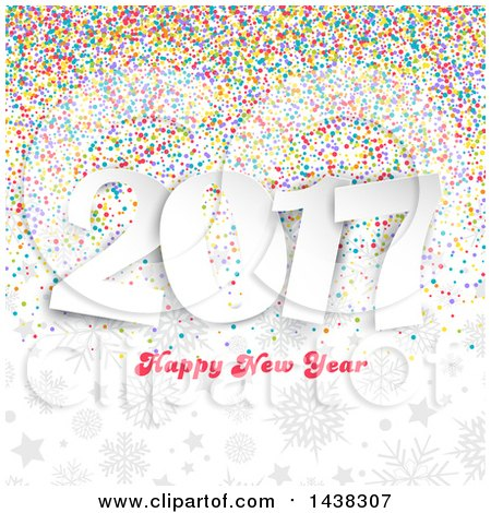 Clipart of a Happy New Year 2017 Greeting over Colorful Confetti, Gray Stars and Snowflakes - Royalty Free Vector Illustration by KJ Pargeter