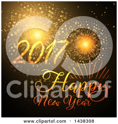 Clipart of a Happy New Year 2017 Greeting with Fireworks - Royalty Free Vector Illustration by KJ Pargeter