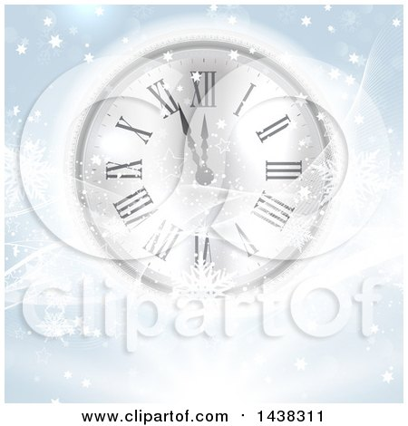 Clipart Of A New Year Count Down Clock With Waves Stars And Snowflakes Royalty Free Vector Illustration