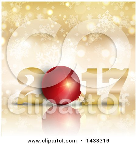 Clipart of a 3d Red Bauble in New Year 2017 Design over Gold with Bokeh and Snowflakes - Royalty Free Vector Illustration by KJ Pargeter