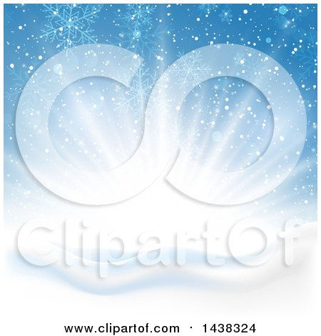 Clipart of a Winter Sunrise with Flares of Light, Snowflakes and Flares over Hills - Royalty Free Vector Illustration by KJ Pargeter